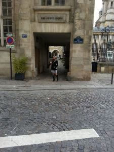 In front of school on Rue Saint Jacques