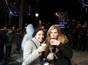 Enjoying some vin chaud with a friend at Champs-Elysees