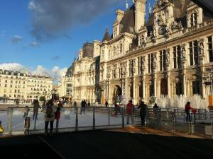 The view of Hotel de Ville ice rink