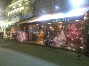 """Brightly"" colored Christmas trees among the cafes"