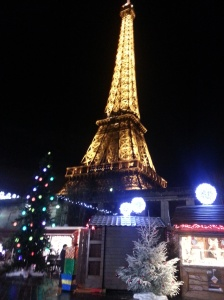 View from the Eiffel Tour Christmas market