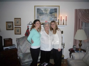 My sister, Megan and I with my Grandma Anne at Christmas