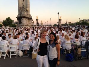 My friend and I in front of Diner en Blanc 2014